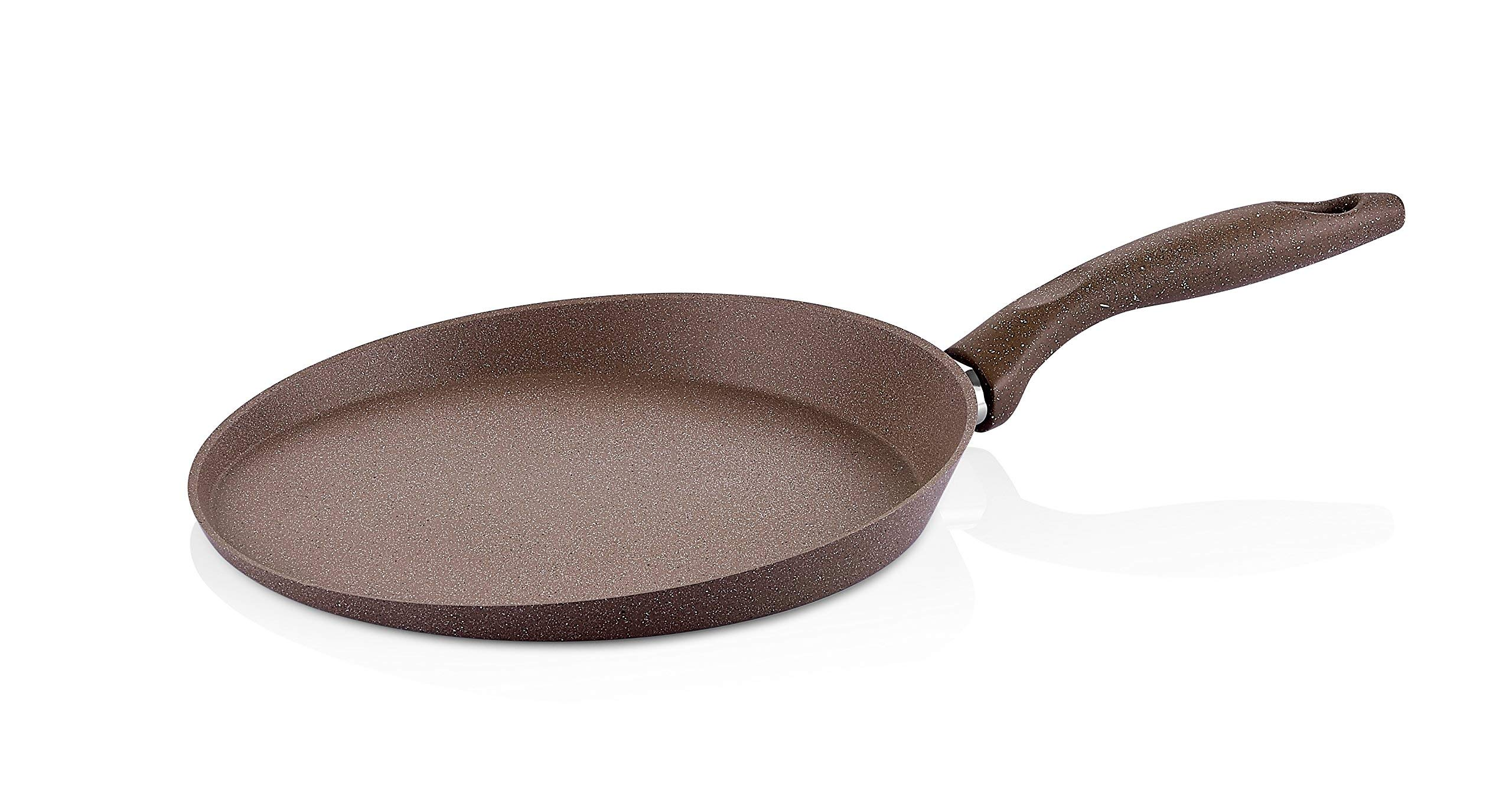 Granite Crepe Pan Non-Stick Scratch-Resistant Forged Aluminum w/ QuanTanium Coating | Even Heating Cooking Dishware (11-Inch)