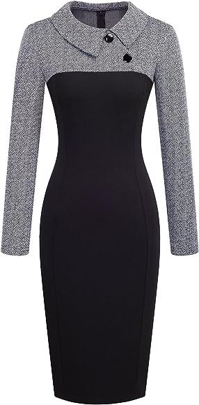 d2534f48 HOMEYEE Women's Retro Chic Colorblock Lapel Career Tunic Dress B238 (S,  Gray). Back