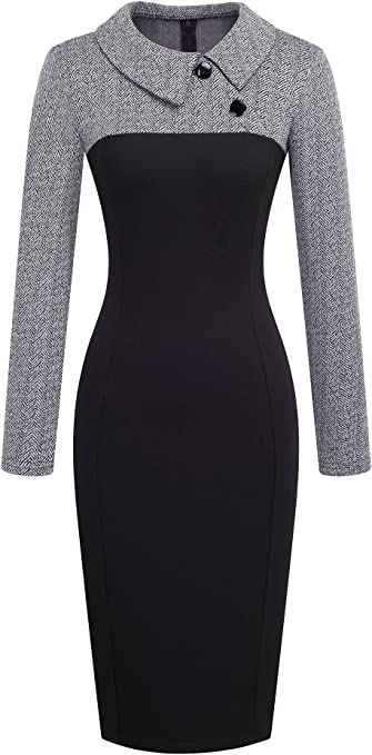 Women's Retro Chic Colorblock Lapel Career Tunic Dress