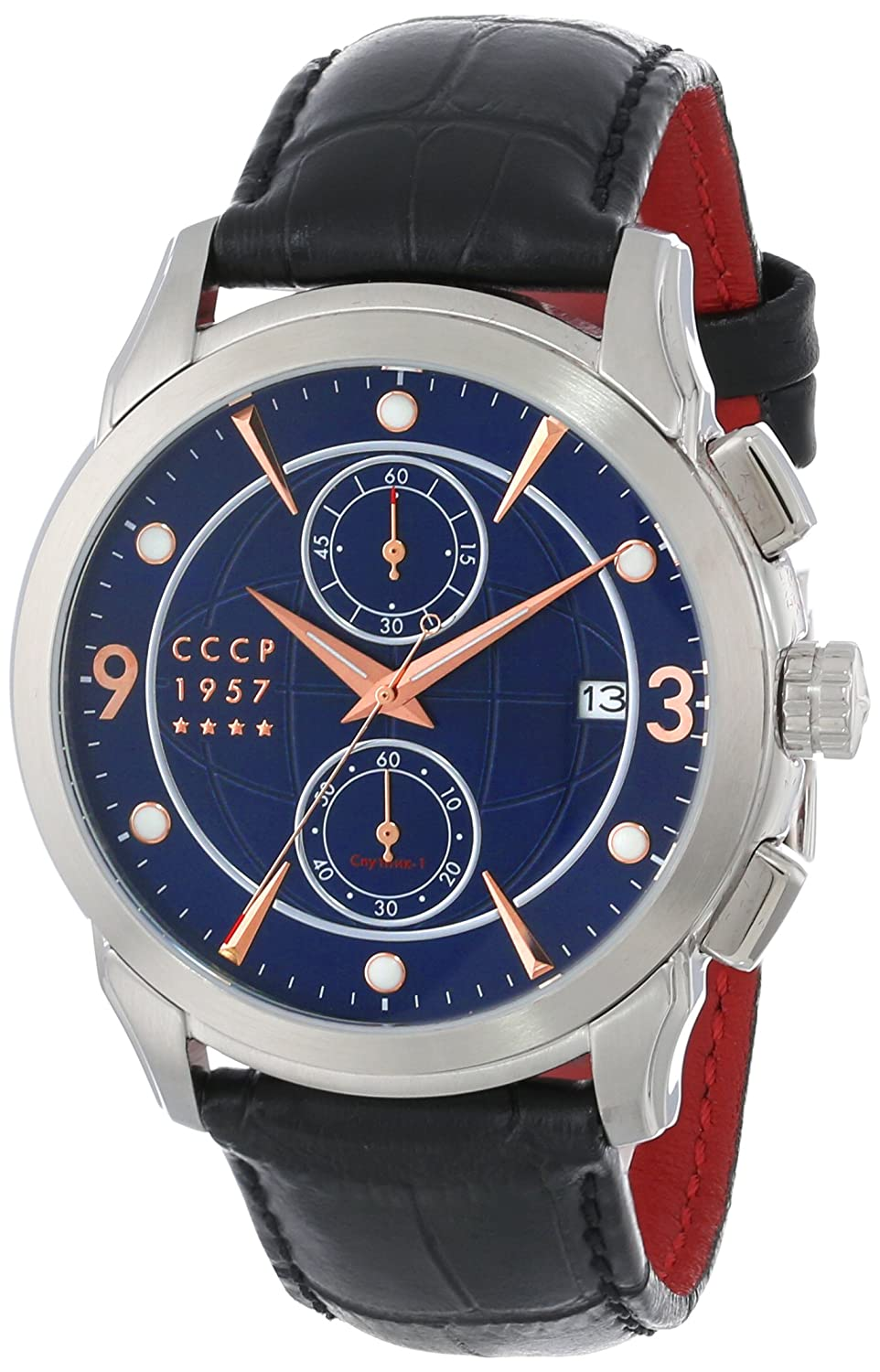 CCCP Herren CP-7002-02 Sputnik 1 Limited Edition Analog Display Japanese Quartz Black Armbanduhr