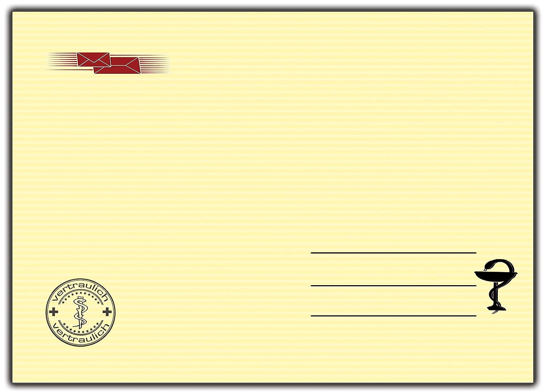 Briefumschlag 10 St/ück DIN-C 5 passend f/ür DIN A5 Motiv Krankenschein Arzt 10 St/ück Ideal f/ür Einladungskarten Krankschreibung