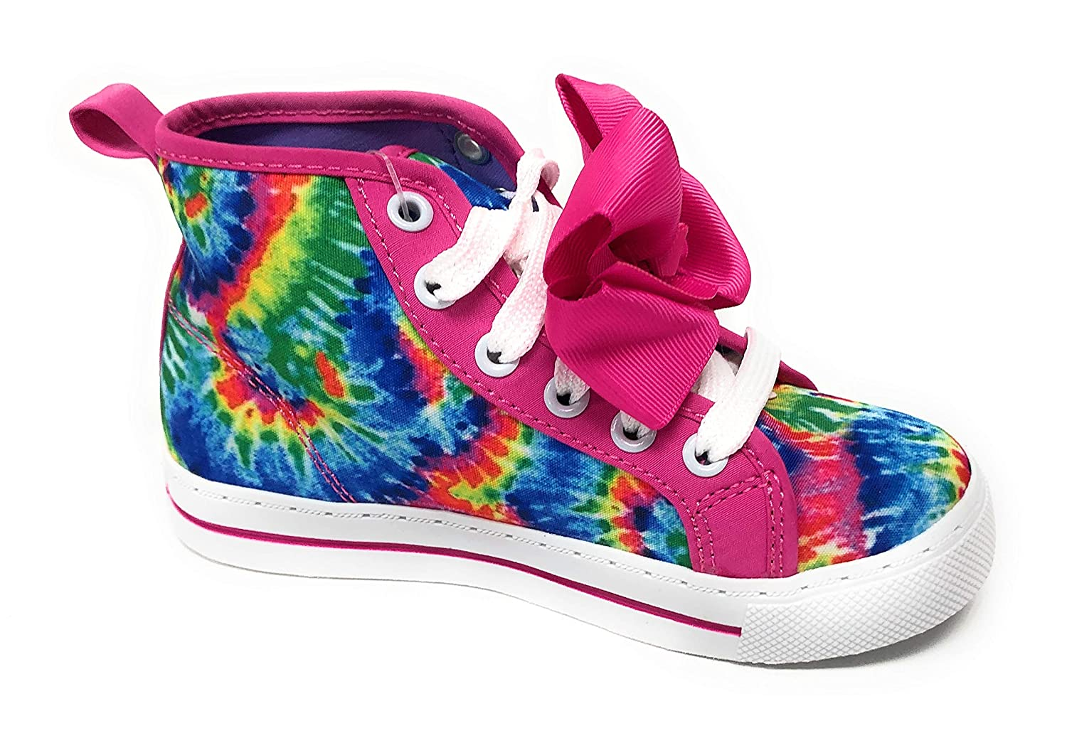 Jojo Siwa Girls Shoes Sneakers High Top Glitter Rainbow Tye Dye with Bow