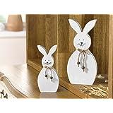 """Deko-Hase """"White"""", 2er Set niedliche Figur in schlichtem Weiß, Holz dekoriert mit Schnur und kleinen Holzperlen Höhe 18 cm, 25 cm"""
