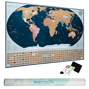 Amazoncom Seenada Goods World Scratch Off Travel Map Poster w