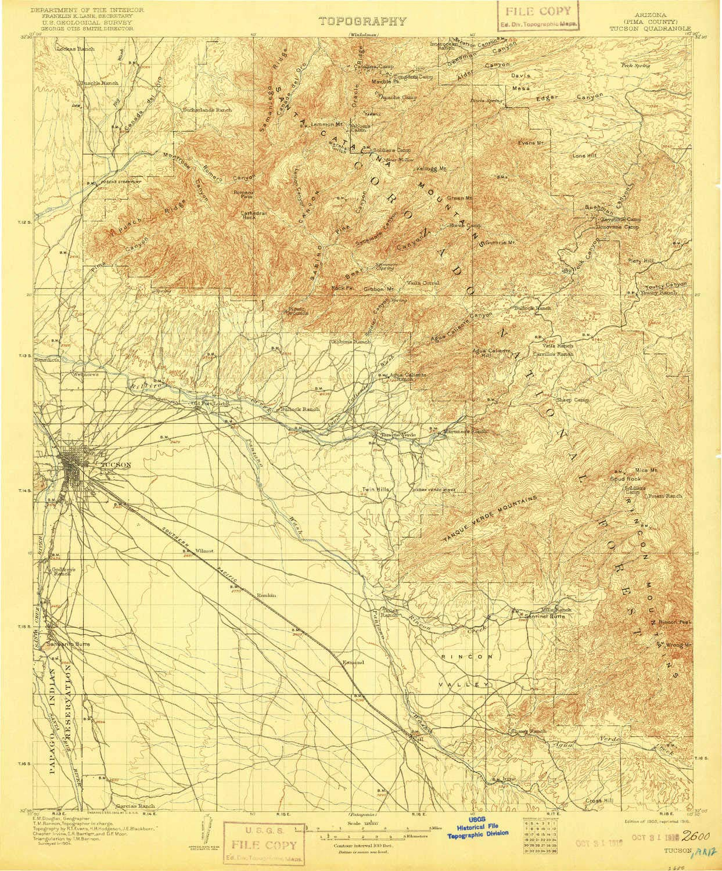 Topographic Map Arizona.Amazon Com Yellowmaps Tucson Az Topo Map 1 125000 Scale 30 X 30
