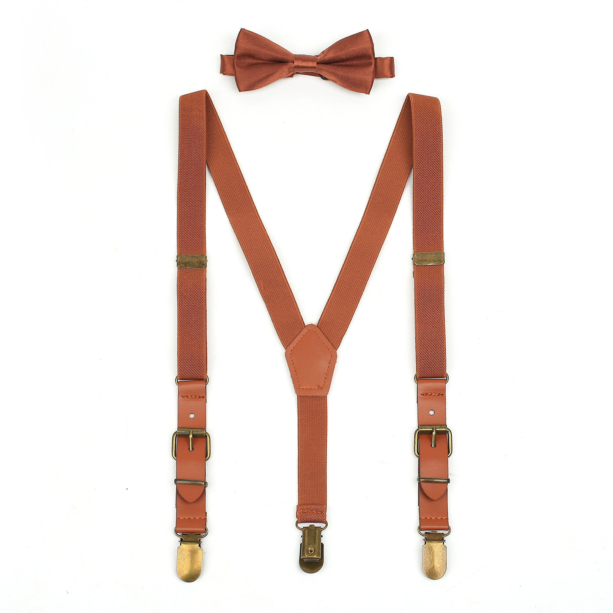 Suspenders & Bowtie Set for Kids and Baby - Y Back Adjustable Strong Clips Synthetic Leather Suspenders