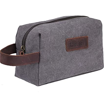 be7975802fad Amazon.com  Wowbox Toiletry Bag for Men Canvas Travel Organizer Shaving Dopp  Kit Cosmetic Makeup Bag Grey  WOWBOX