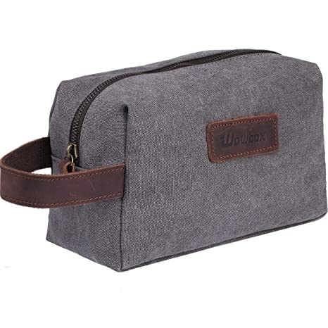 a3ef0cf02d8c Wowbox Toiletry Bag for Men Canvas Travel Organizer Shaving Dopp Kit  Cosmetic Makeup Bag Grey