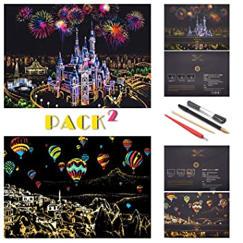 City Series Night View DIY Art Craft Creative Gift Scratchboard para Adultos y ni/ños SiYear Scratch Painting Rainbow Paper Sketch Pads 16 X 11.2 Pulgadas con 4 Herramientas