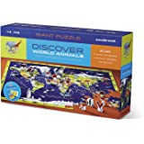 Crocodile Creek Discover World Animals Learn + Play 100 piece Jigsaw Floor Puzzle and 21 Figures, 36""