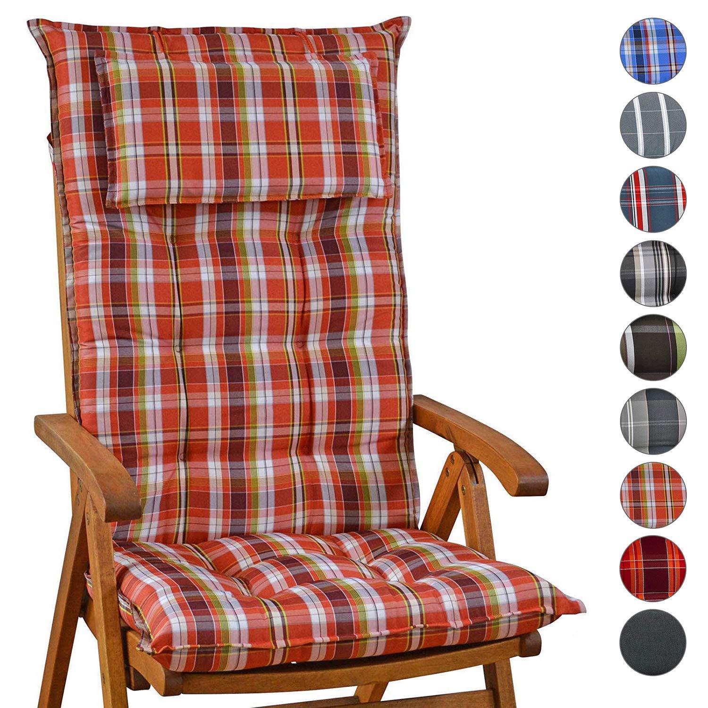 Homeoutfit24 Sun Garden Garden Garden Gartenstuhl-Auflage (120 x 50 x 9 cm) Sylt, Hochlehner Auflage mit abnehmbarem Kopfpolster in Grün kariert 8er Set 7e1c60
