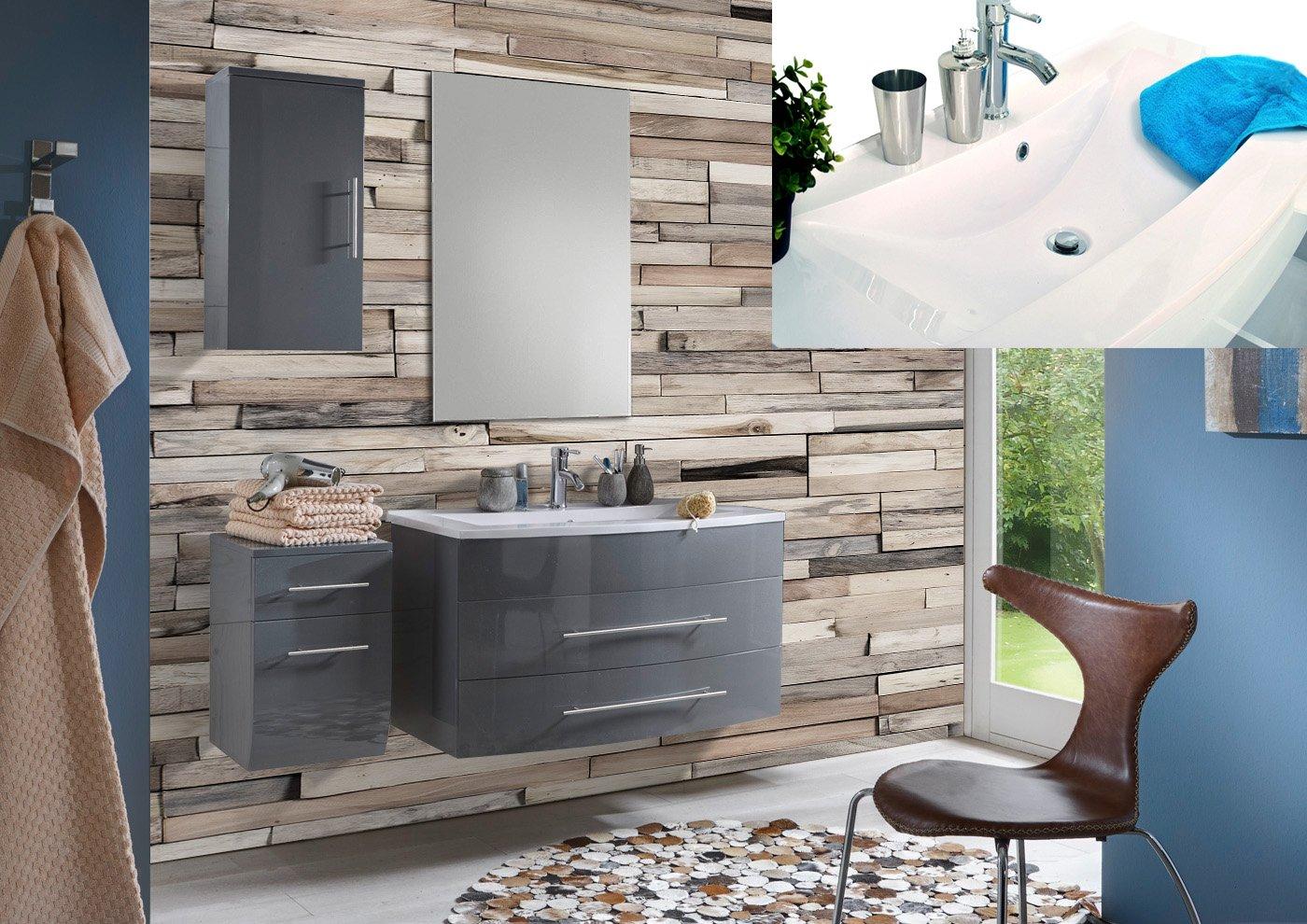 SAM® Badmöbel-Set Zürich light, 100 cm, in Hochglanz grau, 4tlg. Designer Badezimmer mit Softclose-Funktion, 1 Waschplatz mit Mineralgussbecken weiß, 1 Spiegel, 1 Unterschrank, 1 Hängeschrank