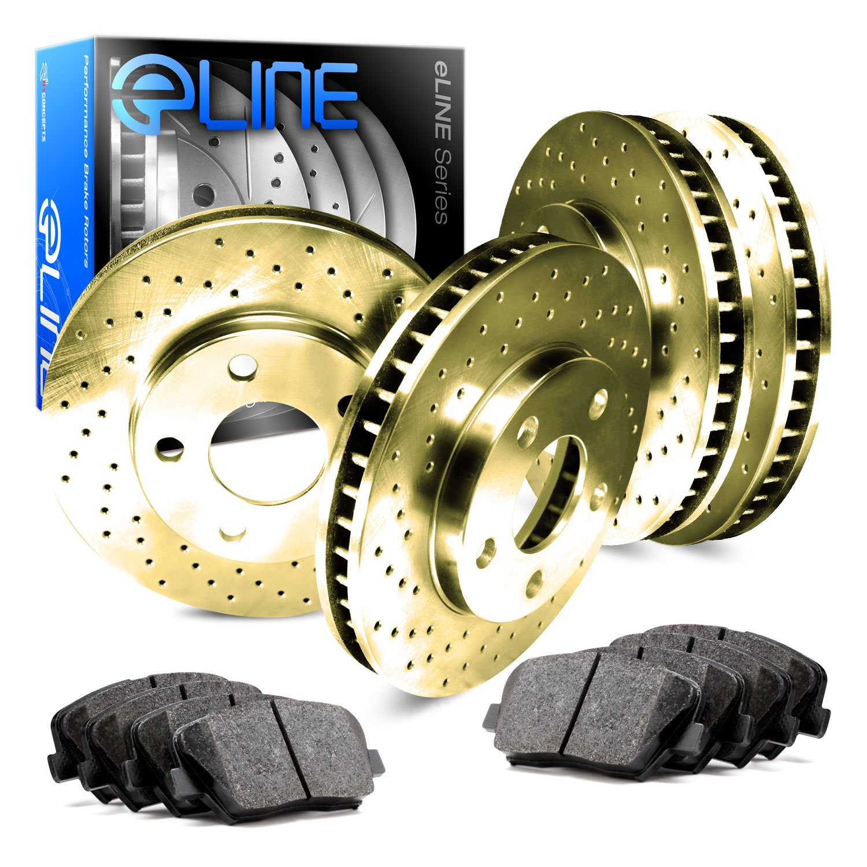 Replacement Parts Gold Edition Cross-Drilled Brake Rotors & Semi-Met Brake Pads FRONT Brake System