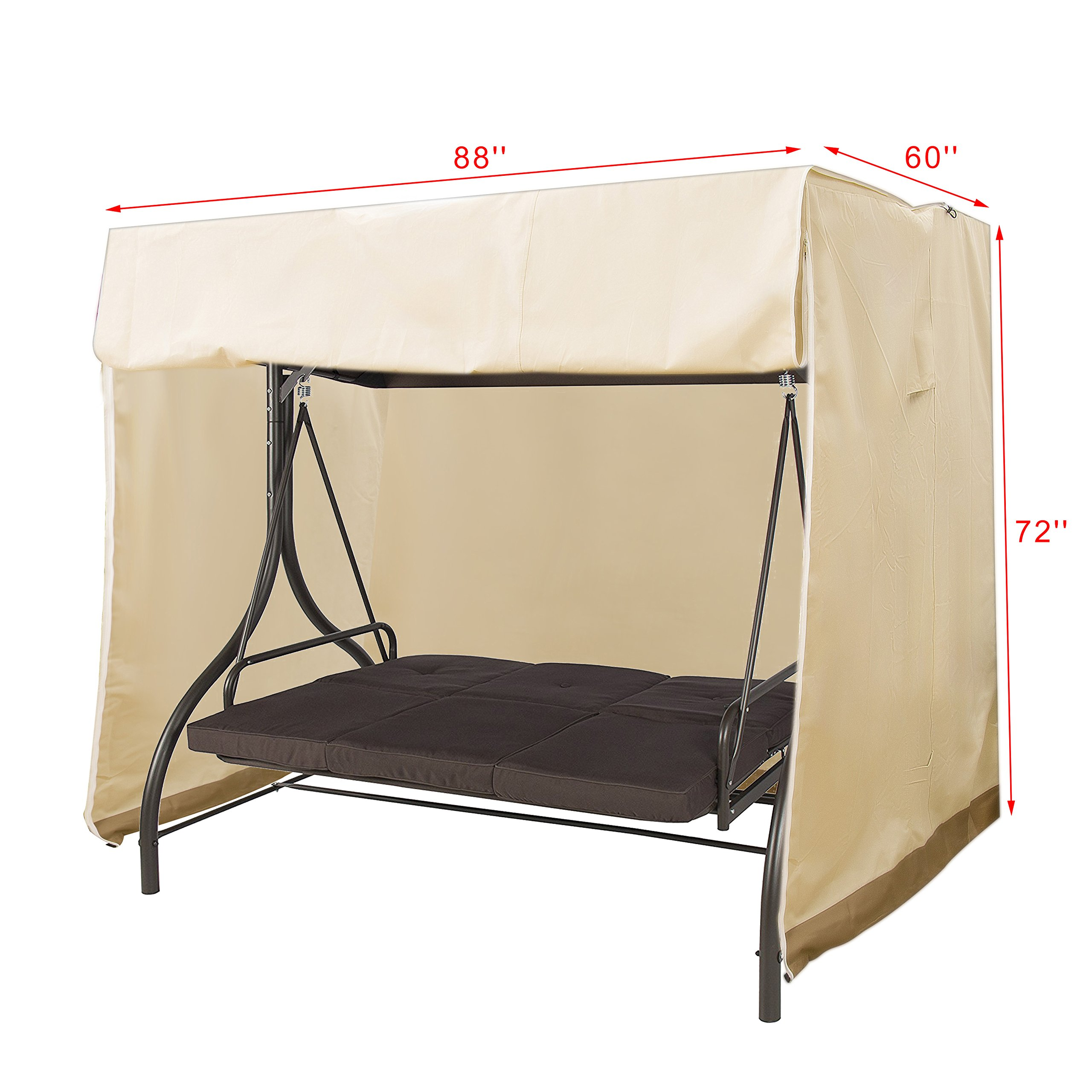 APARESSE Outdoor 3 Triple Seater Hammock Swing Glider Canopy Cover Beige, All Weather Protection, Water Resistant, 88''L x 60''W x 72''H by APARESSE (Image #5)