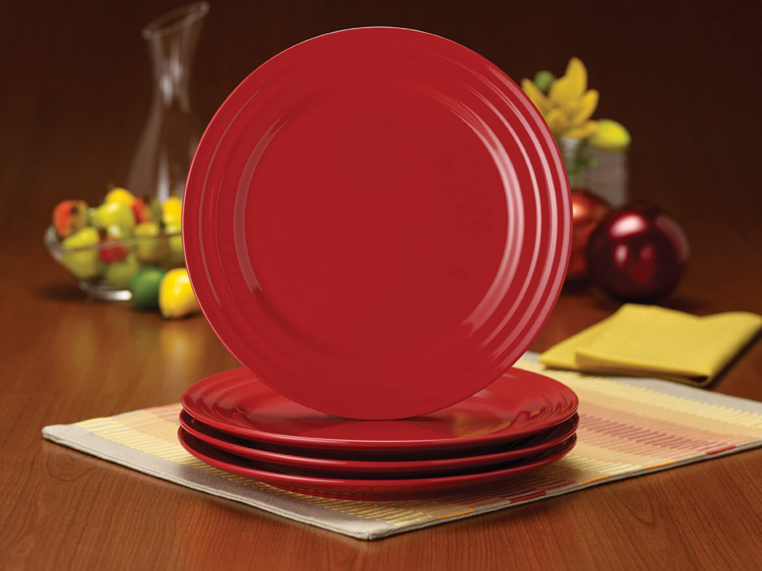Amazon.com | Rachael Ray Dinnerware Double Ridge Dinner Plate Set, 4 ...