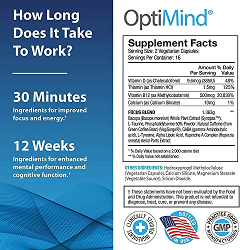 OptiMind Nootropics Brain Booster Supplement, Enhance Focus and Energy, As Seen on Netflix, 2-Pack 32 Ct Each