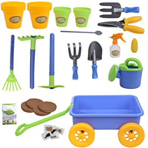 IQ Toys My First Little Gardening Tool Box 16 pc's Toy Gardening Tools Set for Kids