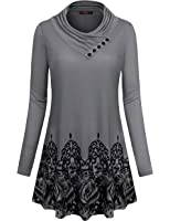 Gaharu Women's Long Sleeve Button Cowl Neck Floral Printed Casual Tunic Tops
