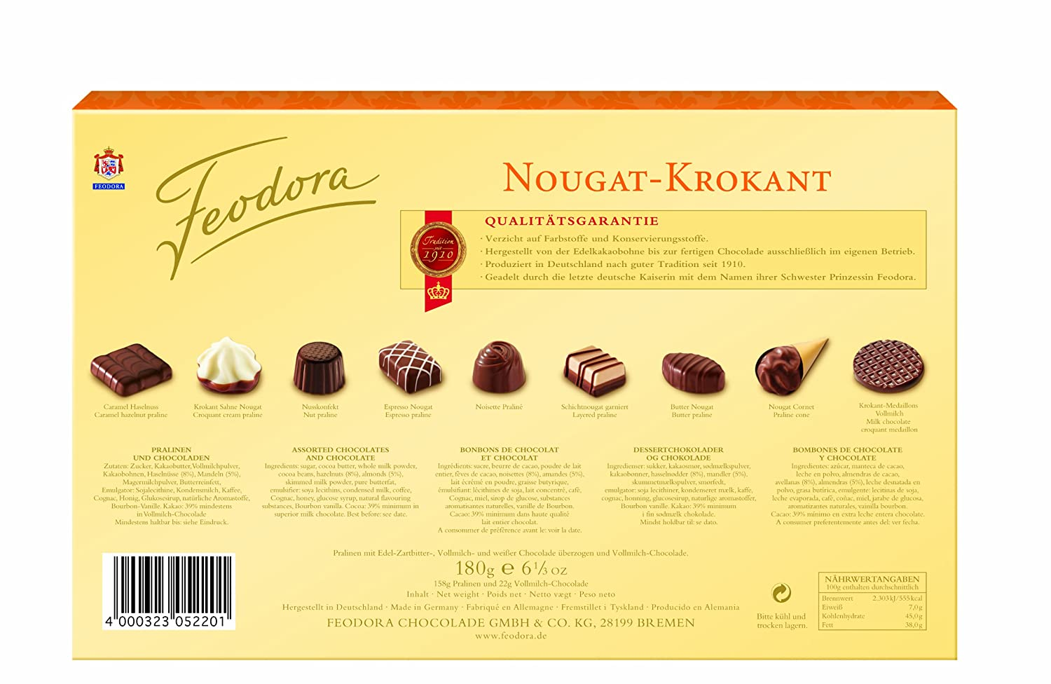 Amazon.com : Feodora Confiserie-Pralinés Nougat-Krokant, 1er Pack (1 x 180 g) : Chocolate Assortments And Samplers : Grocery & Gourmet Food