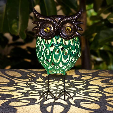 TAKEME Solar Lights Statue Outdoor Decor,Cute Owl Solar Light Figurines  Decorative Metal Warm White