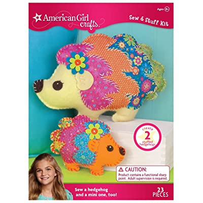 American Girl Crafts DIY Hedgehog Stuffed Animals Sew and Stuff Kit, 11.25'' W x 7.75'' H and 6.25'' W x 5.'' H: Toys & Games
