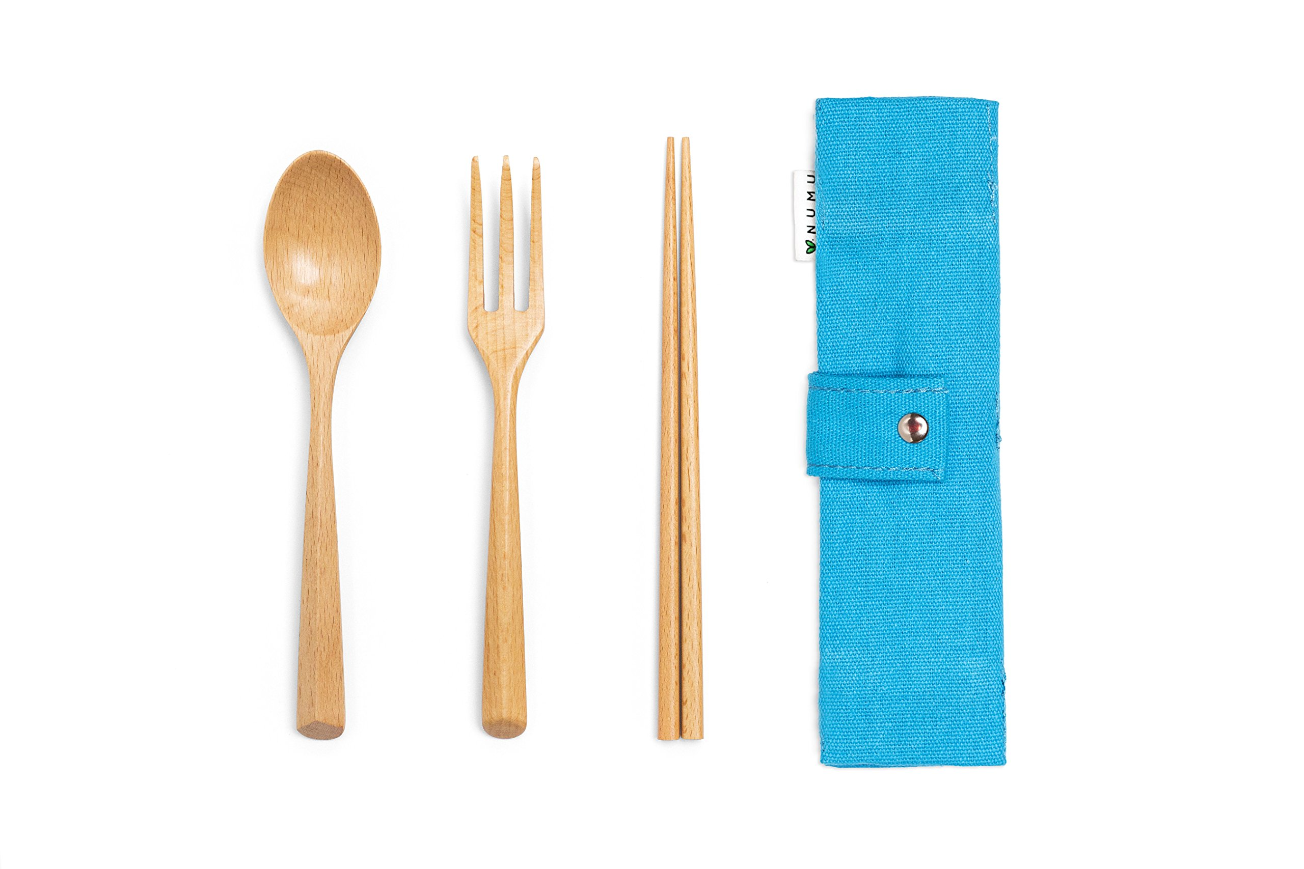 NUMU Wooden Cutlery Set | Travel Utensils Set | Eco Friendly Reusable Flatware | Fork, Spoon, Chopsticks w Portable Pouch (Blue) | Lightweight Stronger than Bamboo Utensils for Camping Office Lunch