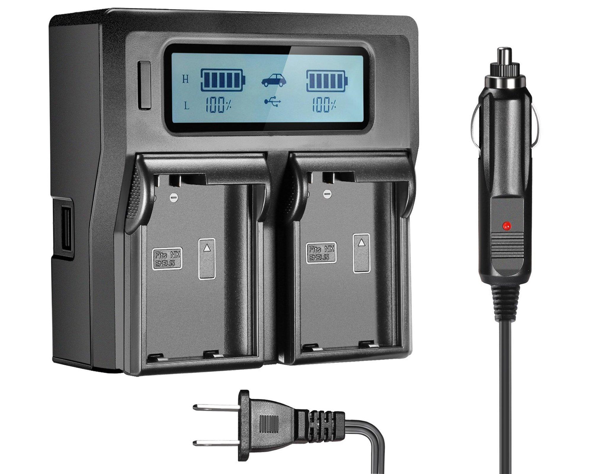 EN-EL15 EN-EL15A Dual LCD Battery Charger for Nikon DSLR D810, D750, D7200, D7100, D7000, D800E, D800, D610, D600, Nikon 1 V1 Digital Cameras ... by SR SUN ROOM