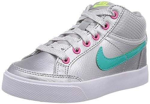Nike - Zapatillas de deporte Capri 3 Mid Leather PS, Bebé-Niñas, Plata (Mtllc Slvr/Hypr Jd-Hypr Pnk-Vl), 34: Amazon.es: Zapatos y complementos