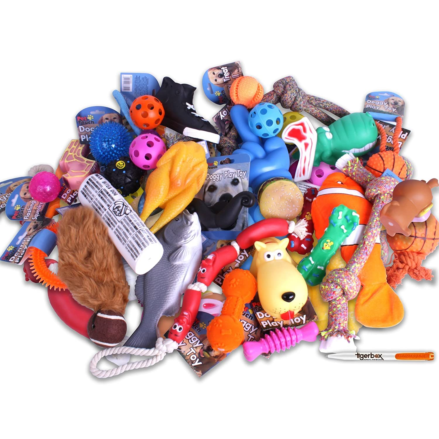 XL Pack 50 Dog Toys Tigerbox XL Value Fun Pack 50 x Pet DOG TOYS Bulk Assorted Squeaky Chew Rope Ball Rubber Fetch Play Toy Antibacterial Pen.
