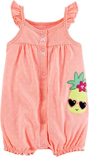 a2e55ffe6 Amazon.com  Carters Baby Girls Snap-up Cotton Romper (Neon Pineapple ...