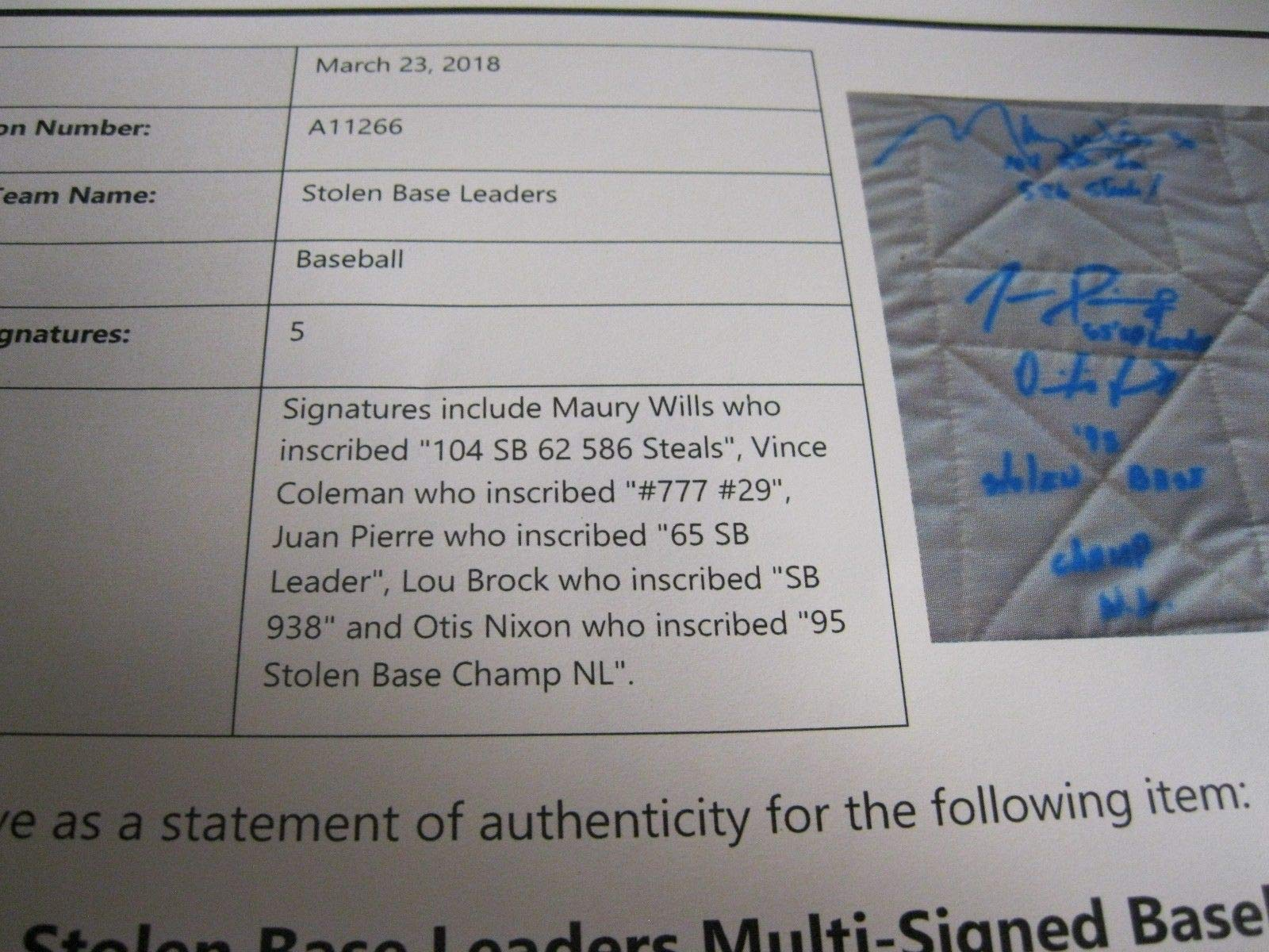 Lou Brock Autographed Top Stolen Base Leaders Autographed Signed Base Beckett Certified