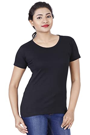 d86187d282f4 Fleximaa Women's Cotton Round Neck T-Shirt Plain All Colors.: Amazon ...