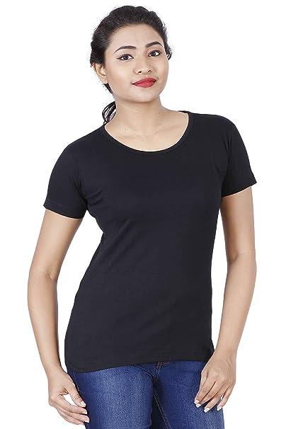 6411ee9fac7305 Fleximaa Women s Cotton Round Neck T-Shirt Plain All Colors.  Amazon ...