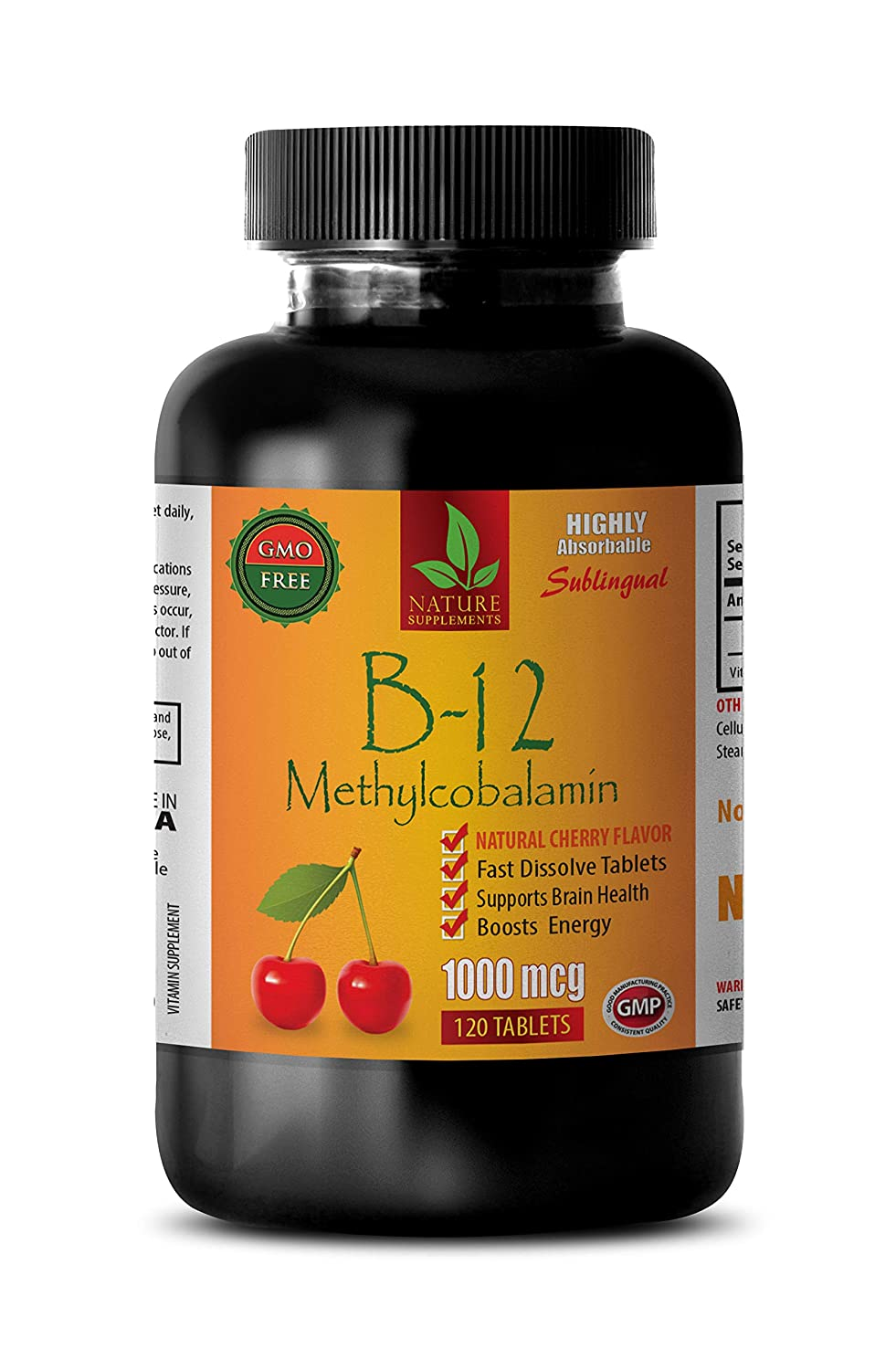 Brain Booster Supplements Focus Memory - B-12 METHYLCOBALAMIN 1000 MCG - SUBLINGUAL - Cherry Flavor - methylcobalamin b12 Complex - 1 Bottle 120 Fast Dissolve Tablets