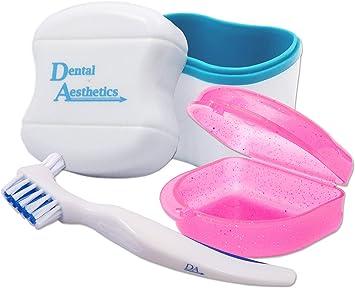 Baño dental, estuche de retención y cepillo ~ Estuche de almacenamiento y contenedor para remojar y limpiar retenedores ortodoncia: Amazon.es: Salud y cuidado personal