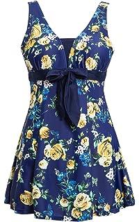 a24cbdadc2fb3 Ecupper Damen Badekleid Blumen Muster Gepolstert Badeanzug mit Shorts Bademode  Große Größen