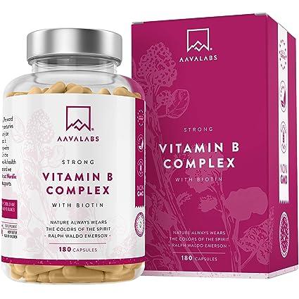 Complejo de Vitamina B - 180 Cápsulas para 6 Meses - 286,3 mg/Dosis Diaria - 8 Vitaminas B: B1, B2, B3, B5, B6, Biotina, B9 (Folato) y B12 - Refuerza ...