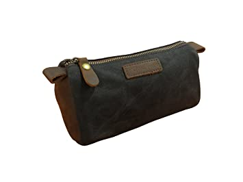 ebae0e2b193 ROYALFAIR Toiletry Bag for Men Small Dopp Kit Vintage Cosmetic Makeup Bag  Genuine Leather Waterproof Wax