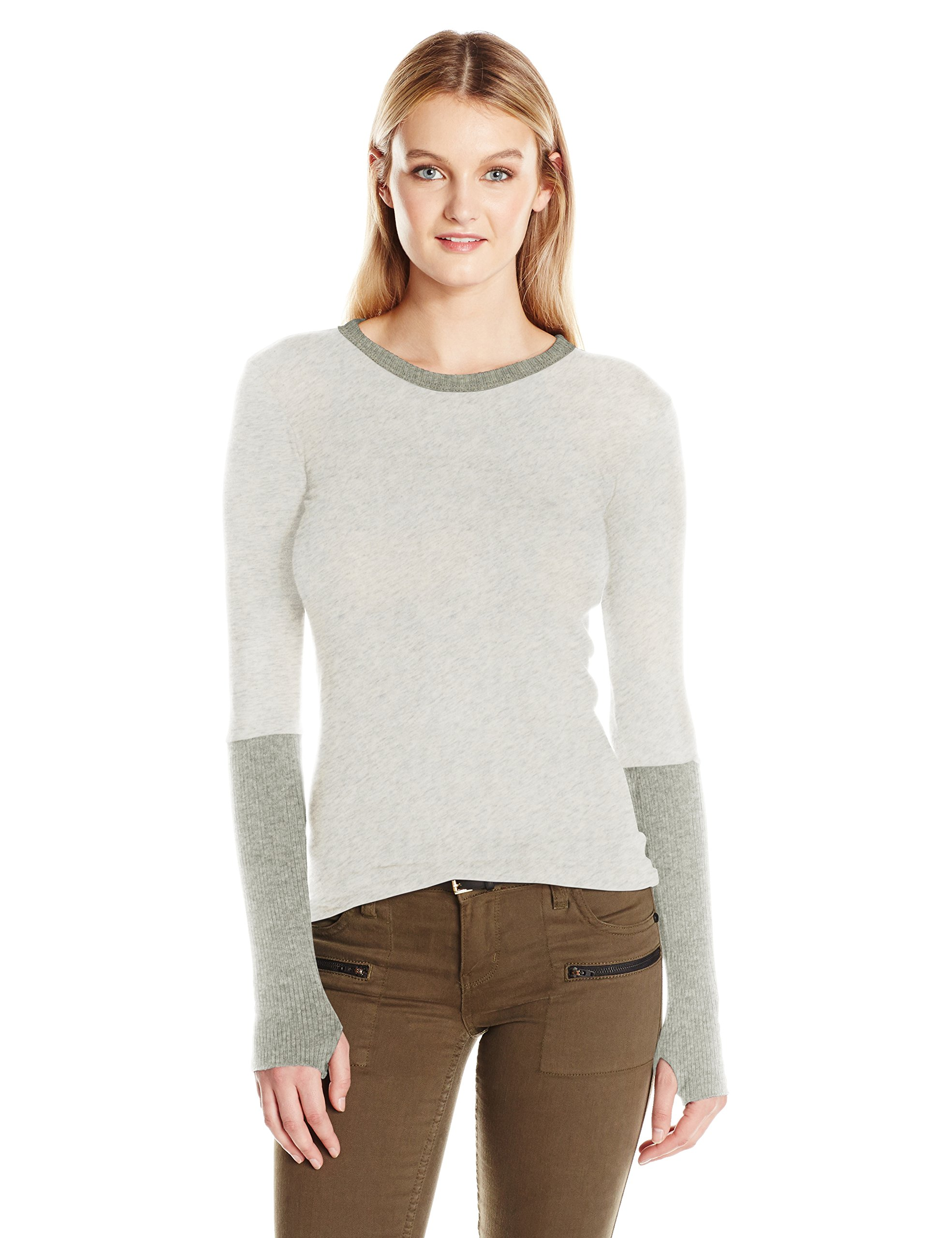 Enza Costa Women's Cashmere Long Sleeve Cuffed Crew with Thumbhole, Ash, L