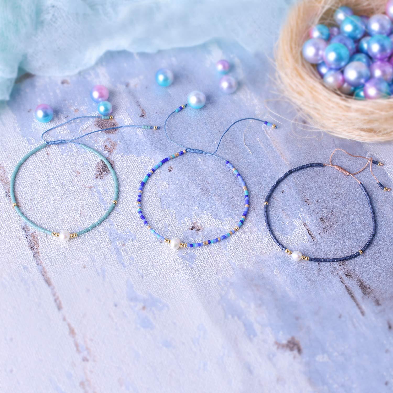 KELITCH 3 Pcs Seed Beaded Bracelets Handmade Friendship Bracelets Family Strand Hand Chain Bangles (Color 02N) by KELITCH (Image #2)