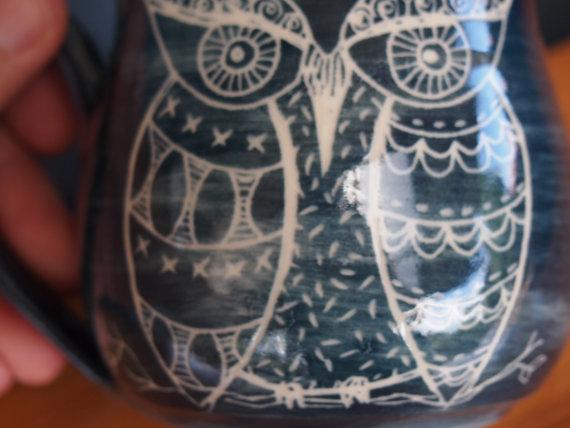 unique coffee mug Handmade ceramic coffee mug owl by AVALONPOTTERY