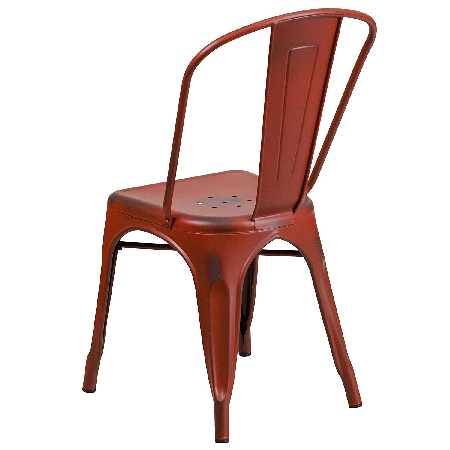 distressed metal furniture. Amazon.com: Flash Furniture Distressed Kelly Red Metal Indoor-Outdoor  Stackable Chair: Kitchen \u0026 Dining Distressed Metal Furniture U