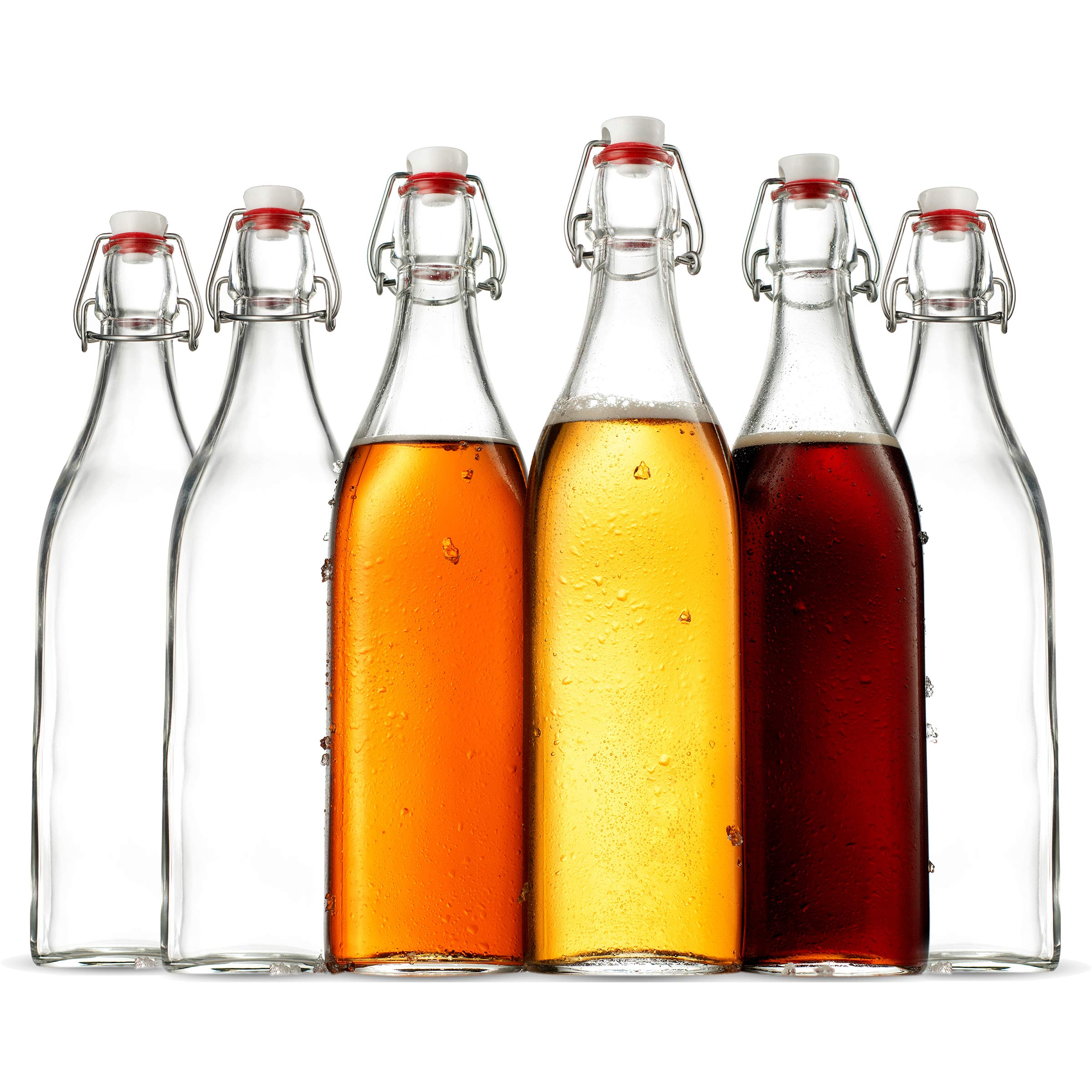 Swing Top Clear Glass SQUARE Bottle With Airtight Stopper - 33.75 oz (6 Pack) Fliptop Grolsch Bottles Great for Oil and Vinegar, Beverages, Kombucha, Homemade Juices, Smoothies, Homebrewing, Beer.