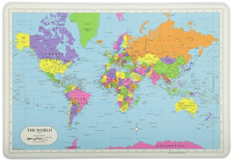 Amazon painless learning world map placemat home kitchen painless learning world map placemat gumiabroncs Image collections