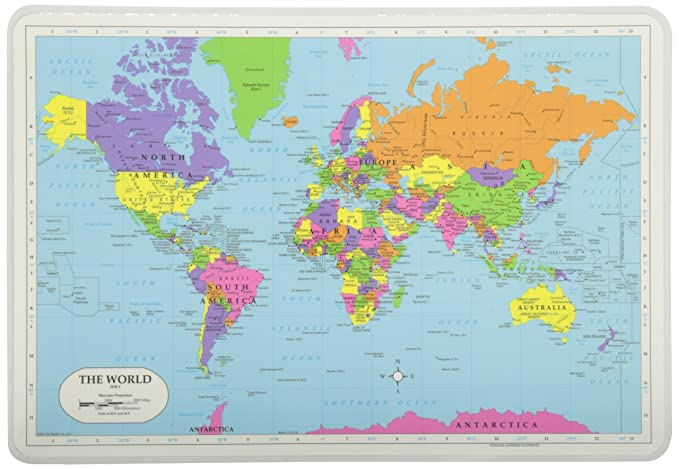 Painless Learning World Map Placemat Place Mats at amazon