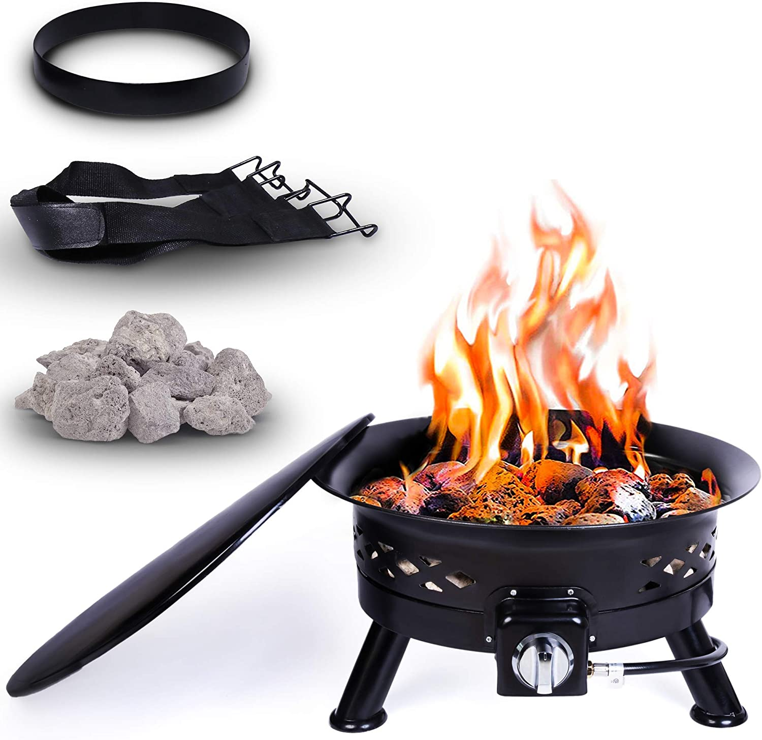 Amazon Com Project One Portable Outdoor Propane Fire Pit With Cover Carry Kit Lava Rocks 24 Inch Diameter 58 000 Btu Cross Pattern Garden Outdoor