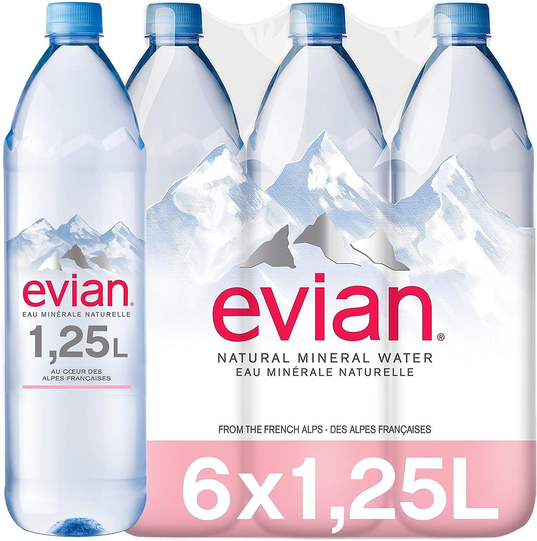 Evian Agua Mineral Natural - Pack de 6 x 1,25L: Amazon.es ...