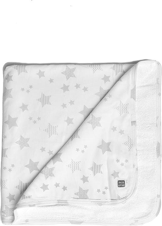 Arrullo 100% Algodón Recién Nacido Doble Capa (algodón y rizo) - Canastilla Hospital Bebé - Colección Etoile - Estrellitas gris y blanco - Minutus: Amazon.es: Bebé