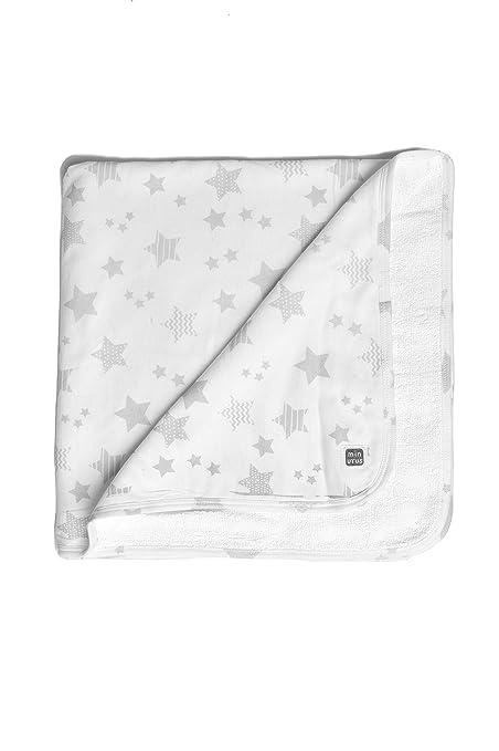 Arrullo 100% Algodón Recién Nacido Doble Capa (algodón y rizo) - Canastilla Hospital Bebé - Colección Etoile - Estrellitas gris y blanco - ...
