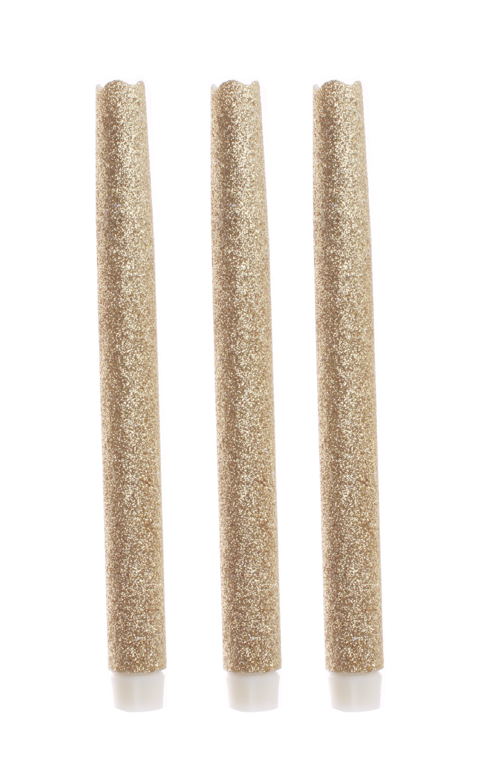 9 Inches Melted Led Taper Candles with Timer,Battery Operated,with Gold Glitter,Pack of 3